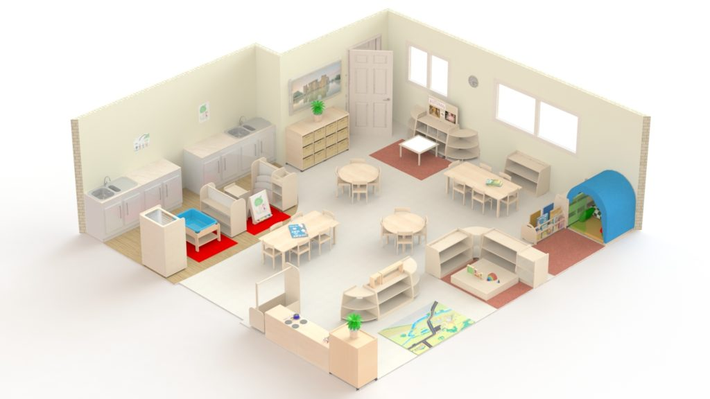 This is an example of a room for two year olds which could accommodate 20 children. It is 56m2 and would cost under £8000.