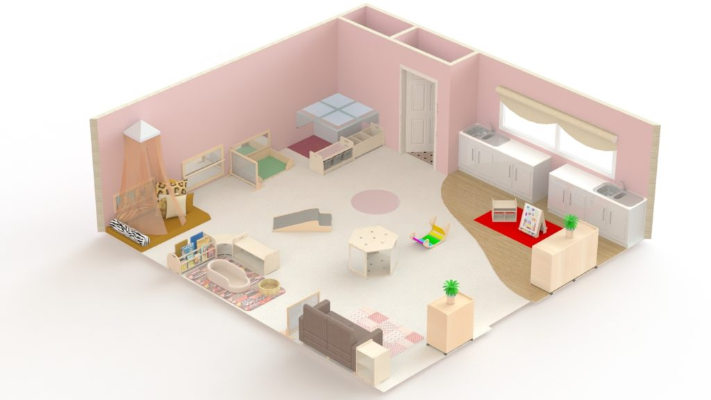 This is an example of a baby's room which could accommodate 15 children. It is 55m2 and would cost under £6000.