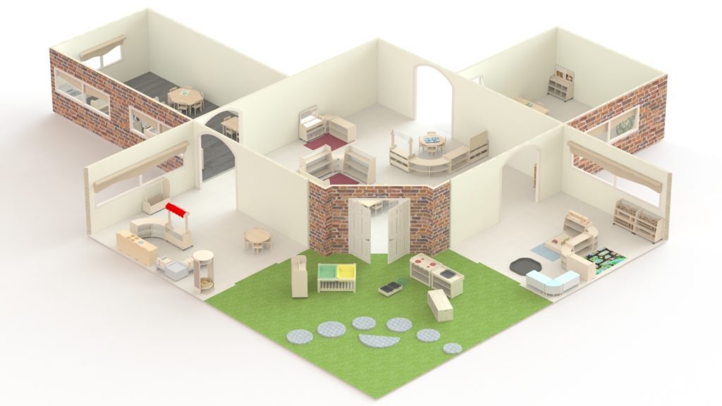 This is an example of a Free Flow Area for 2-4 year old's and is 186m2. These 5 rooms and the outdoor area would cost under £18000.