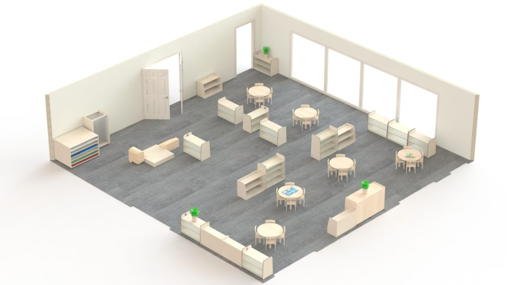 This is an example of a Montessori room for 3-4 year olds which could accommodate 24 children. It is 100m2 and would cost under £6000.