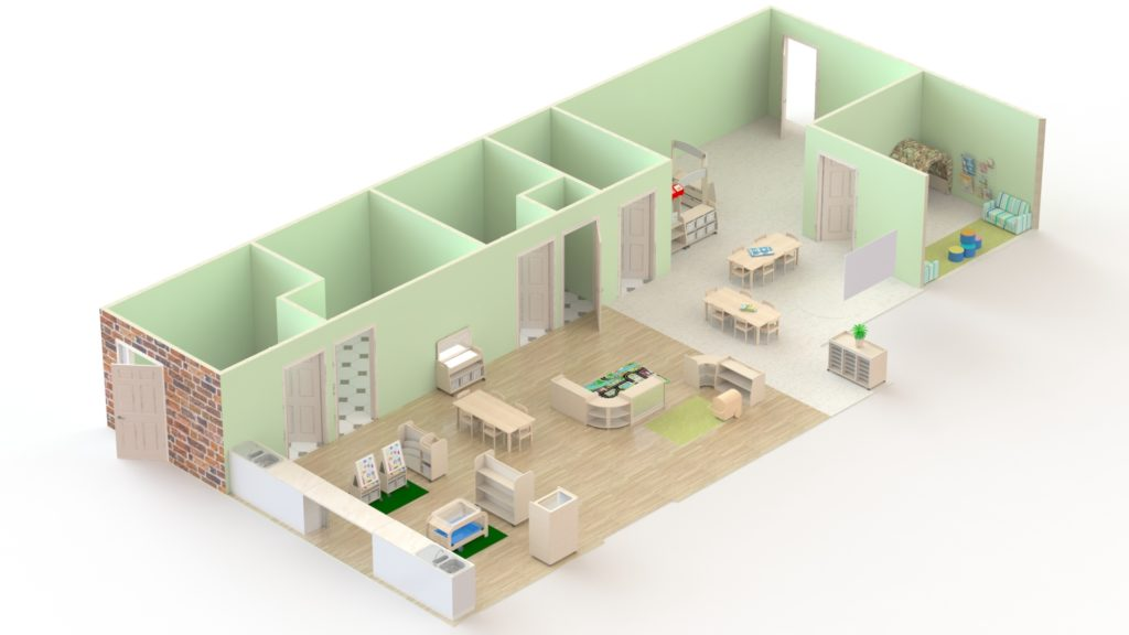 This is an example of a room for 3-5 year olds which could accommodate 40 children. It is 114m2 and would cost under £9000.