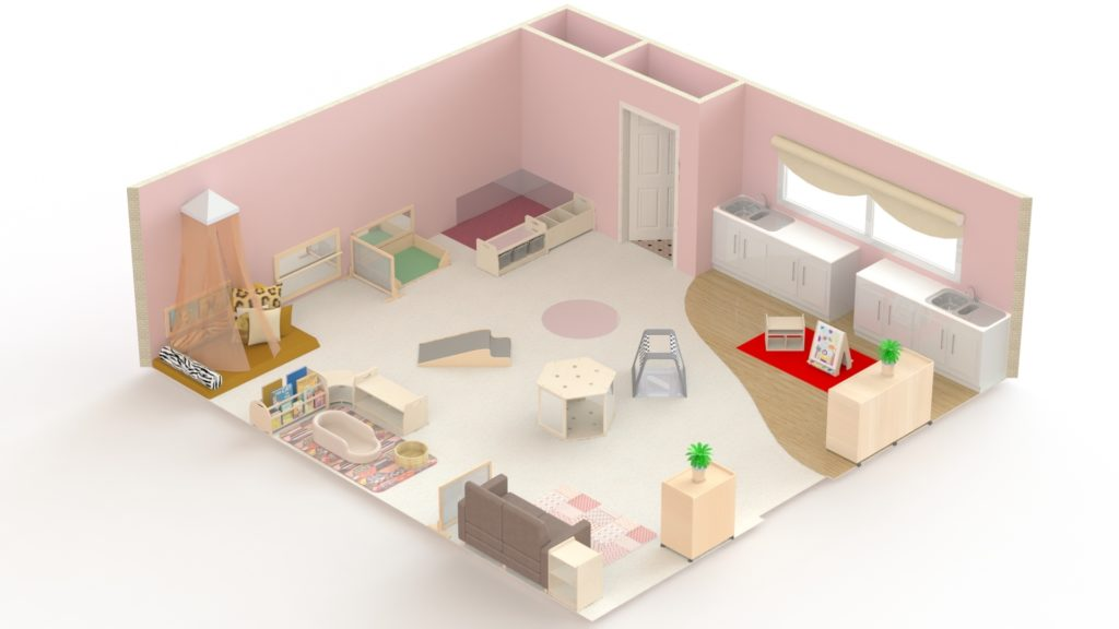 This is an example of a baby's room which could accommodate 15 children. It is 55m2 and would cost under £5000.